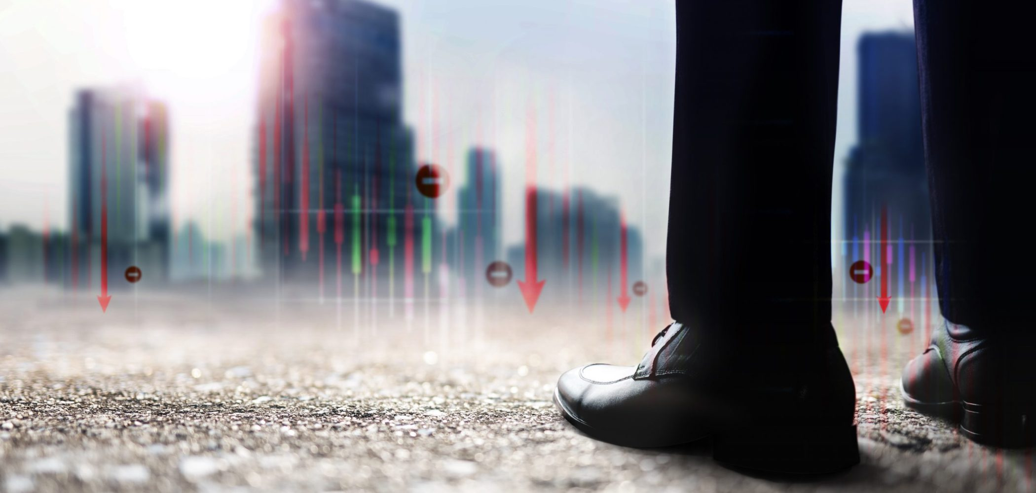 Financial or Economy Crisis Concept. Vision of Business Leader. Stock Marketing Graph is going Crash and Down. Low Section of Businessman Standing to Looking at the Urban City